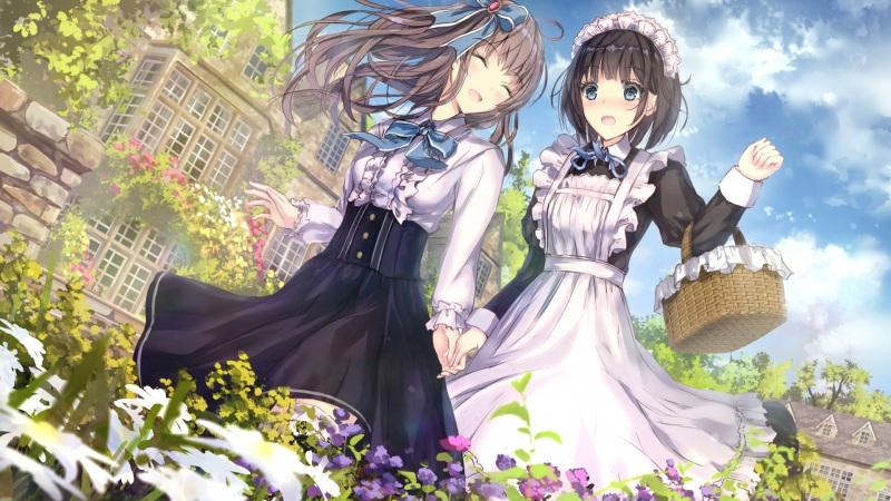 两女孩子 散歩 连衫围裙