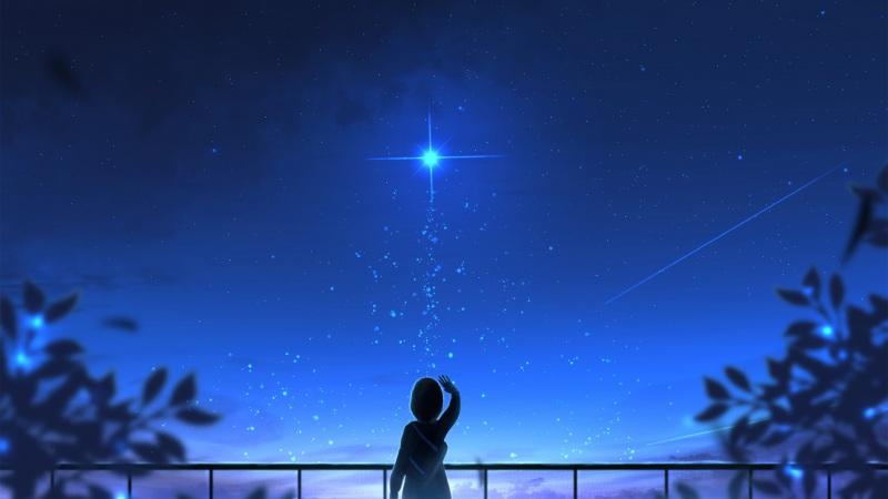 星愿 女孩子 夜空 星空