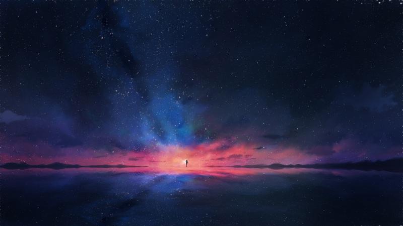 数星人 星空背景 夜空