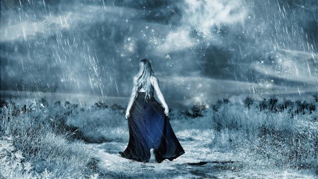 <大雨中孤独背影意境写真,高清壁纸,图片,时光记忆