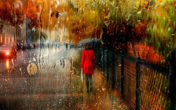<一个人雨中打伞孤单背影伤感图片,高清壁纸,图片,时光记忆