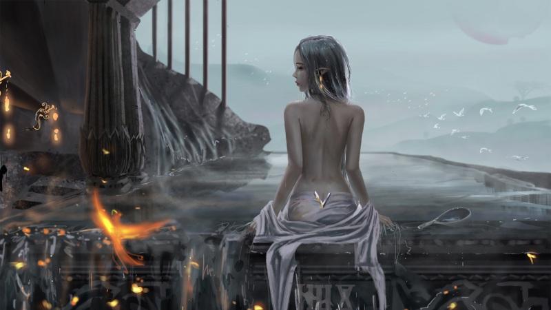 天池 浴池 女孩少女 美