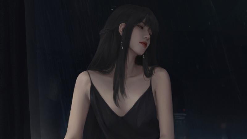 穿黑色吊带裙长发动漫美