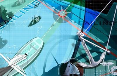 <體育奧運項目賽艇卡通版手繪高清壁紙