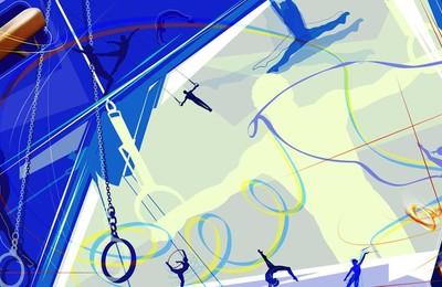 <體育運動項目吊環卡通版手繪插畫高清壁紙
