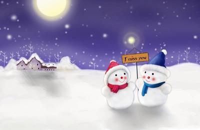 <小清新温馨一刻雪人高清壁纸
