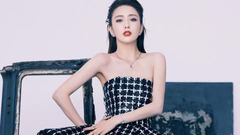 佟麗婭格子抹胸裙圖片