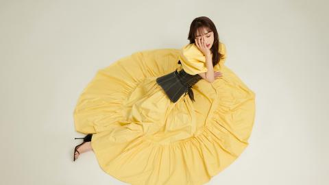 宣璐黄色裙子图片壁纸