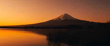 富士河口湖日落风景